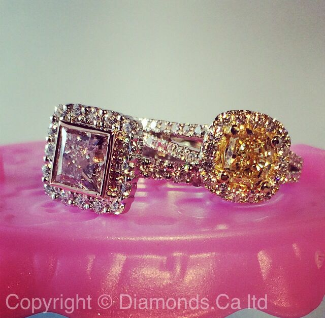 Pink diamond halo ring by RanC. Yellow diamond ring.