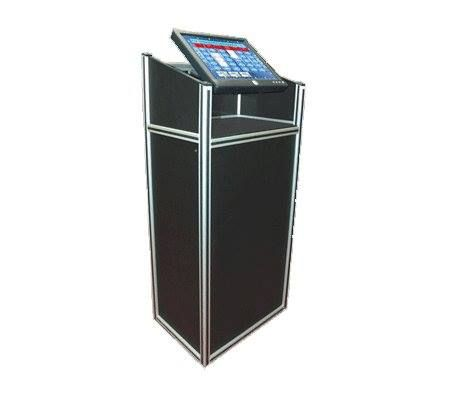 Host Podium - With Touch Screen Monitor, Our #HostPodiums with an embedded touch screen monitor is a great way to stand out as a professional game show host and also make hosting #Trivia games easy. Buy now!  #TriviaQuiz #QuizShow #GameShow #TriviaGame