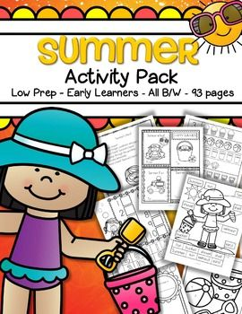 Summer activities - just print and that's it! 93 pages of low prep hands-on printable Summer activities for preschool, pre-K and early Kindergarten children. Appropriate for pre-readers and writers.  All in b/w.