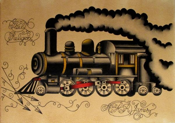 Train Tattoo...like some of the details in this but would definitely change it up
