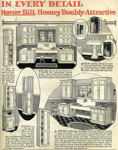 craftsman kitchens in 1910   Sears Kit House::Honor Bilt Kitchen::1920