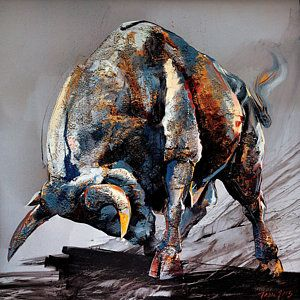 Bull Painting - Bull Fight by Dragan Petrovic Pavle