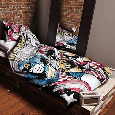 Disney Black Kids' multicoloured 'Marvel Comics' duvet cover and pillow case set   Debenhams