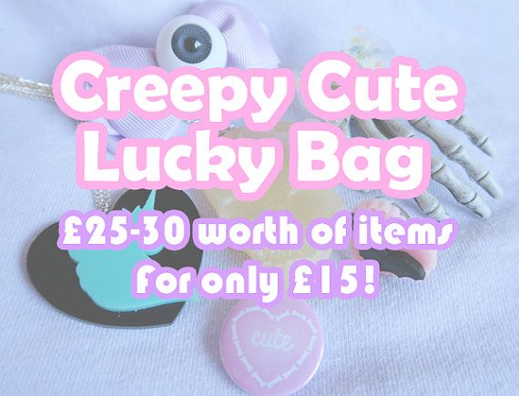 ♡ Creepy Cute lucky bag ♡ You will receive over £25-30 worth of jewellery and accessories for just £15! #pastelgoth #creepycute #spooky #unicorn #eyeballs #skeleton #hand #pastel #goth #creepy #cute #jstyle #jfashion #harajuku #style #fashion #kpp