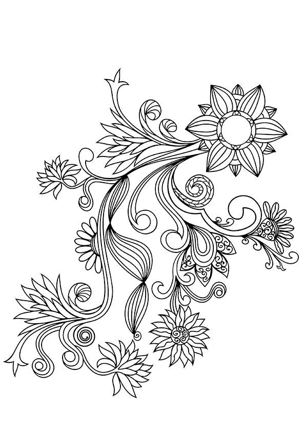 Pattern Flower Drawing With Colour Best 25 Flower Tattoo: Pin On Just Add Colour-Adult Colouring