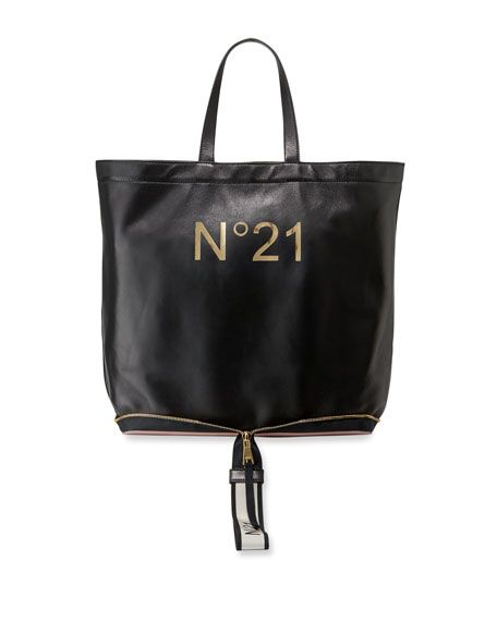 Foldable Black Bag Shopping Leather 795 Big No 00 21 Tote qtAnP