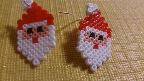 Santa Claus earrings - Christmas hama perler beads by Susanne Damgård Sørensen