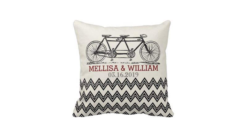 CUTE!  Retro wedding gift idea | Tandem Bicycle Zigzag Chevron Wedding Gift Throw Pillow