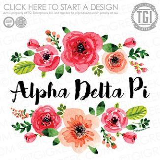 Alpha Delta Pi | ΑΔΠ | Floral | Flowers | PR | Recruitment | TGI Greek | Greek Apparel | Custom Apparel | Sorority Tee Shirts | Sorority T-shirts | Custom T-Shirts