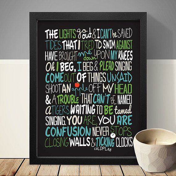 Coldplay  Clocks / Song Lyric Typography Poster