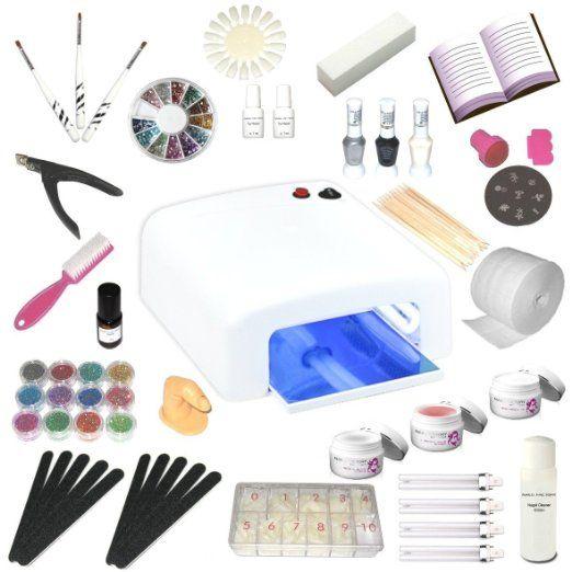 Kit de manucure + nail art professionnel complet - Lampe UV 36W (4 ampoules), Gels UV (3) et tous les accessoires pour les ongles - Format XXXL