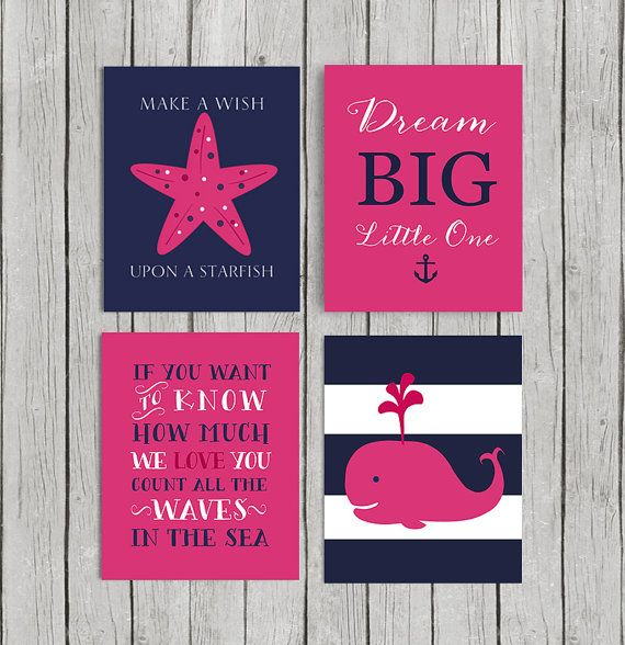 Pink Whale & Starfish & count the waves& Dream big Quote nursery art print. Nautical wall decor for little girls - Set of 4 JPEG files.  8x10