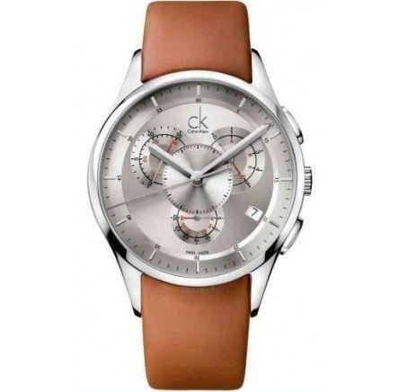 Orologio da polso cronografo da uomo, firmato CALVIN KLEIN, con bracciale in pelle e movimento al quarzo, perfetto se ti senti elegante! Prodotto disponibile!