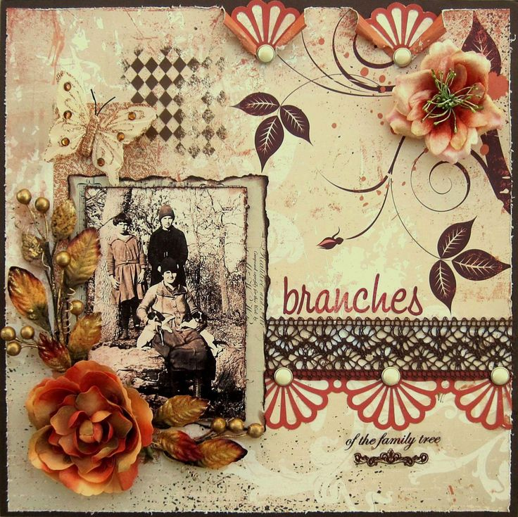 Branches of the Family Tree ~ Beautifully colored and designed heritage page with a button and lace border, stamping and dimensional flower cluster.