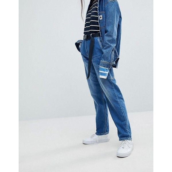 Carhartt WIP Relaxed Boyfriend Jeans With Hammer Loop (€105) ❤ liked on Polyvore featuring jeans, blue, carhartt jeans, carhartt, blue jeans, sport jeans and relaxed fit jeans