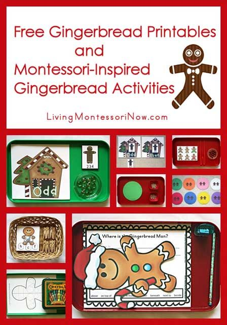 Long list of free gingerbread printables plus Montessori-inspired gingerbread activities using some of the free gingerbread printables (ideas for preschoolers through first graders)