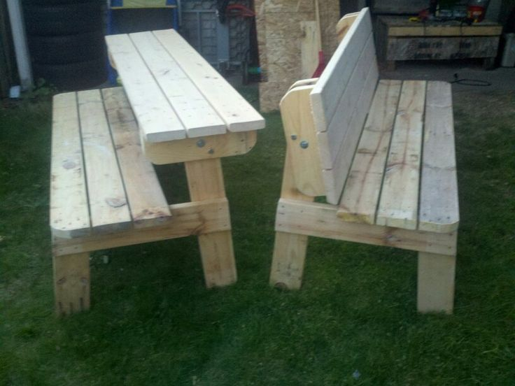 Picnic table that turns into two benches.