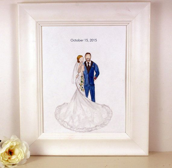 Wedding Portrait Bride And Groom Painting Custom 1st Anniversary Gift From Photo Paper Newlywed