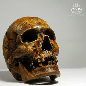 Wood Skull Sculpture Anatomy
