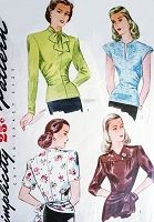 1940s BEAUTIFUL Over Blouses Pattern SIMPLICITY 1121 Three Lovely Day or Evening Styles Includes Peplum Side Bow Tie Version Bust 32 Vintage Sewing Pattern