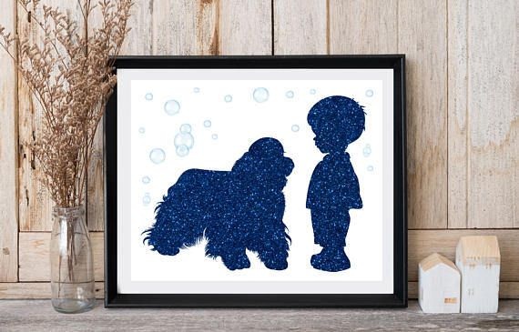 Baby room wall decor Dog print Little boy with dog Cocker