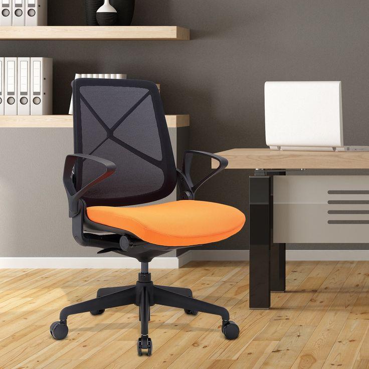 HomCom Sedia da Ufficio Ergonomica Regolabile, Nero e Arancione, 64x64x91.5-100cm
