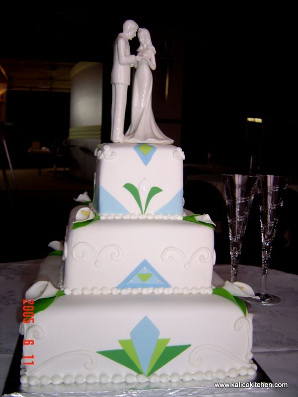 Art Deco Square Cake : Wedding Cakes- 3 tier, fondant, square, art deco, colorful ...