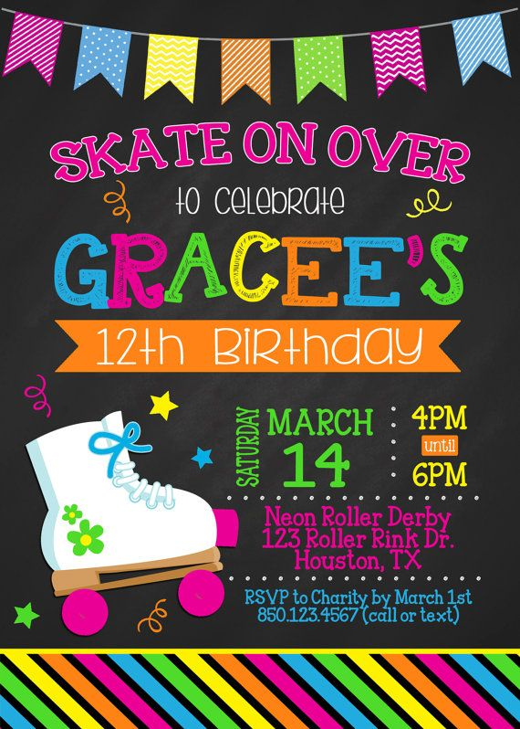 8 best rollerskating party images on pinterest | neon party, 80s, Party invitations