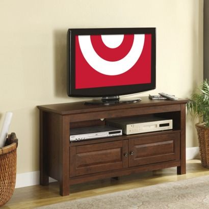 """Walker Edison Wood TV Stand with Inside Storage - Brown (44"""") $159.99"""