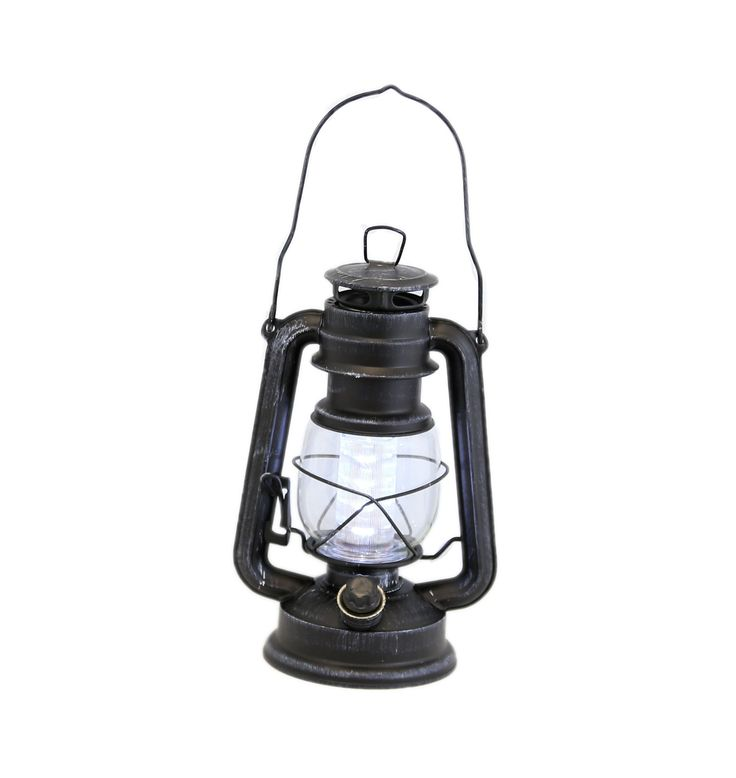 Large Black Antique Battery-Operated Lantern