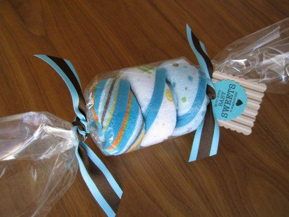 Caramelo de toallita de bebé  género neutro bebé ducha por moyobaby
