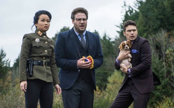 """Diana Bang, Seth Rogen, and James Franco in """"The Interview"""""""