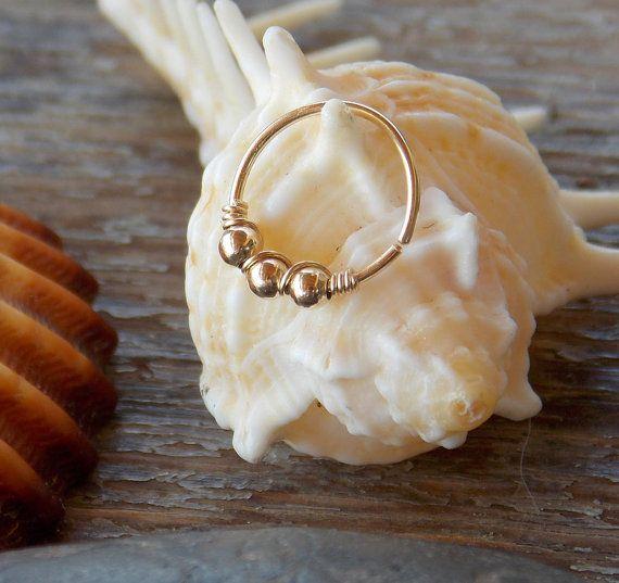 Beaded cartilage earring Helix hoop by sofisjewelryshop on Etsy