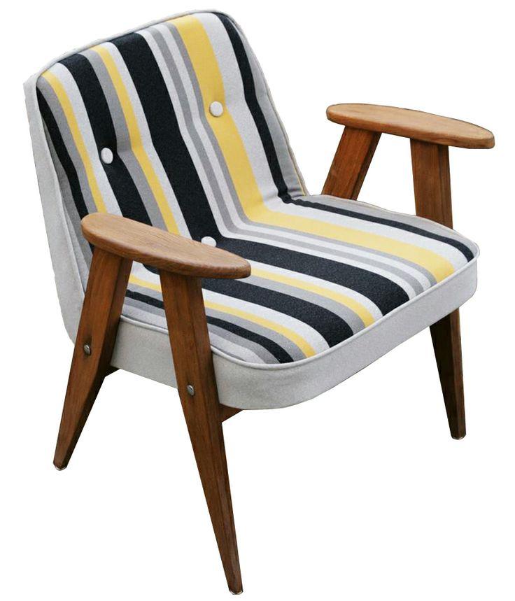 Chierowski żółty, fotel z epoki PRL, vintage, modernizm design, mid century furniture