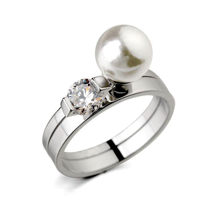 Мода высокое качество кольцо элегантный жемчуг кольцо из двойное кольцо из новинка дамы палец ringon свадебное платье