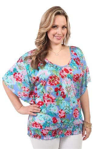 plus size floral print peasant top