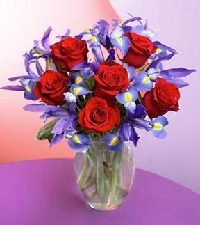 Purple Iris & Red Rose Bouquet