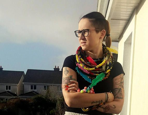 Unique/ African Fabric Wrapped Necklace/ Wax Print/ Yarn