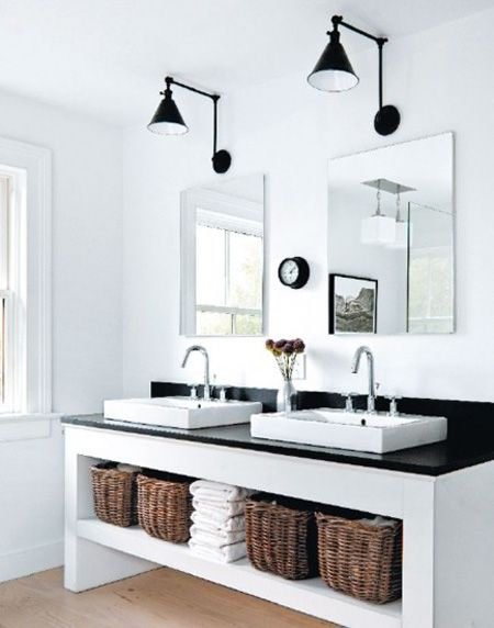 open shelving with baskets, lighting, symetrical design | House & Home