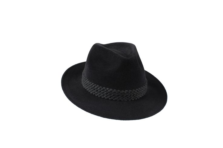 The Amber Trilby Collection | Charcoal Black | Grey Wool Braid Band www.penmayne.com #trilby #hats #accessories