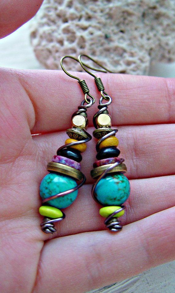 Boucles d'oreille Boho / Boho bijoux / Boucles par HandcraftedYoga