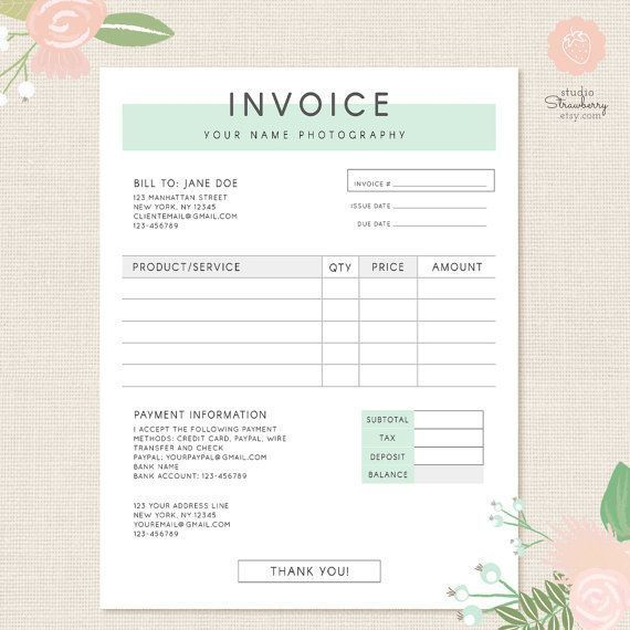 Invoice Template Photography Invoice Business Invoice Photography Invoice Photography Invoice Template Invoice Template