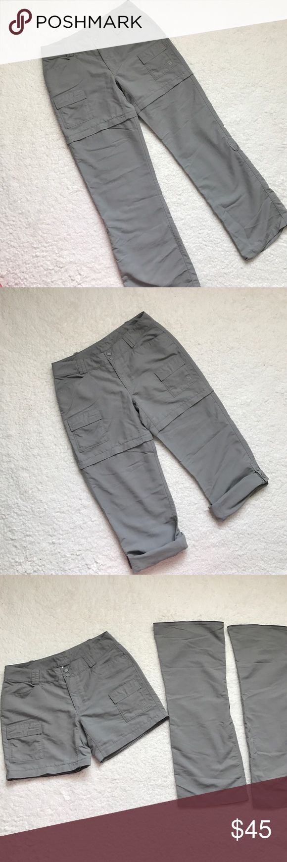 """The North Face Outdoor Convertible Pants These 3 in one pants are such great quality and in good shape.  There is a tiny pen mark on the front fly.  Snap button and drawstring waist.  Zip off legs turn to shorts or roll up button tab turns into capris.  100% Nylon.  Measurements laying flat are approximately: Waist 15"""".  Rise 8.5"""".  Pant inseam 31"""".  Short inseam 5.5"""". The North Face Pants"""