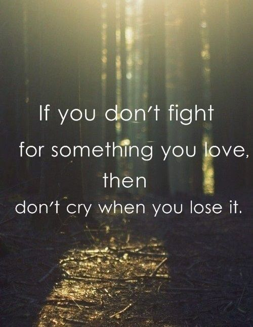 If you won't fight for something you love, then don't cry when you lose it