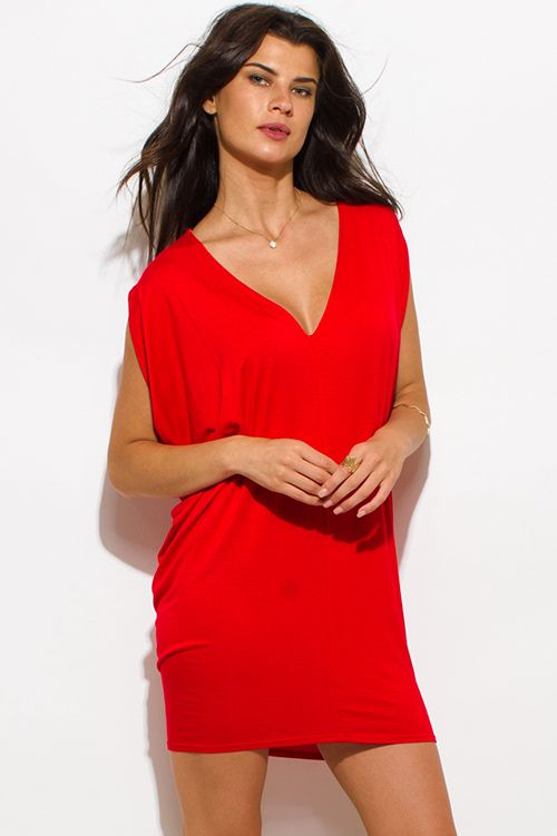 Cute cheap red jersey dolman sleeveless low v neck tunic top mini dress