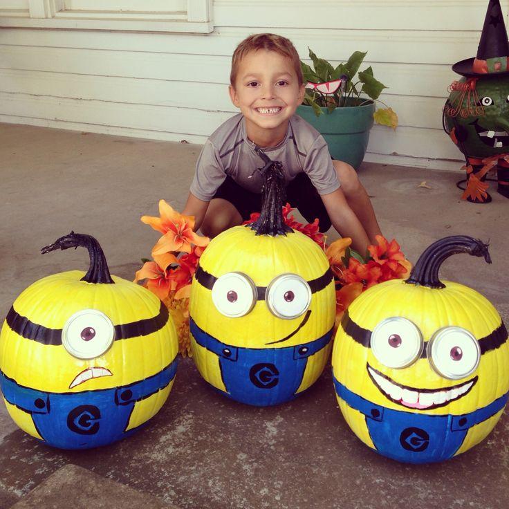 Minion pumpkins!!! We love minions & my little boy, Kevin had a blast helping paint them!! Fun fall & Halloween project!!!