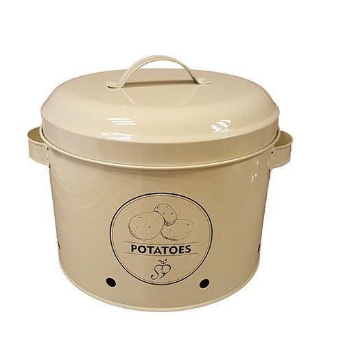 Leuk brocante metalen voorraadblik om aardappelen in te bewaren. Inhoud 6,3 liter. Openingen zorgen voor goede ventilatie. Afmetingen: 23 doorsnede bij 21 cm hoog.