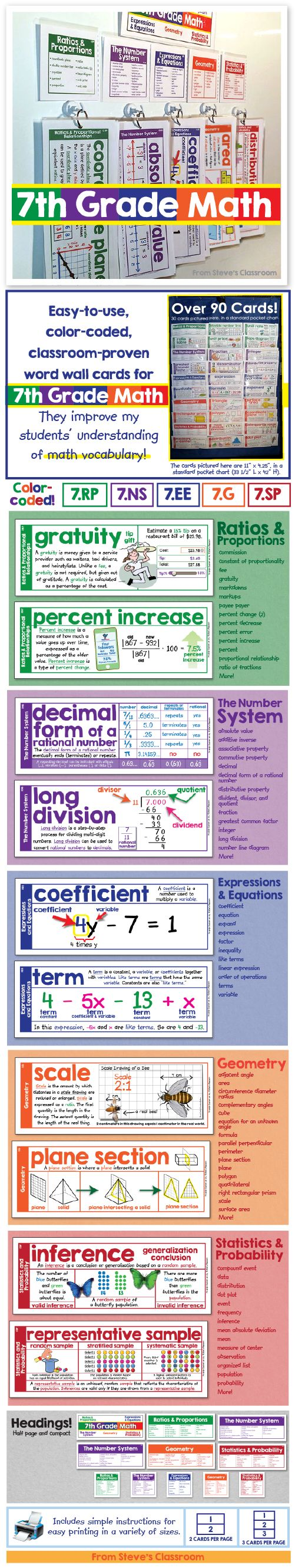 Bring 7th grade math vocabulary to life with these easy-to-use word wall cards. The illustrations help students understand seventh grade math concepts like ratios and proportions, the number system, expressions and equations, geometry, and statistics. The color coding makes it easy to stay organized and identify the different domains, even from a distance.~