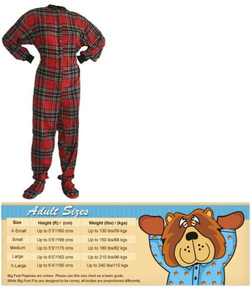 Sleepwear and Robes 166697: Red And Black Flannel Adult Footed Pajamas Footie Drop Seat Mens Womens Pjs -> BUY IT NOW ONLY: $41.94 on eBay!
