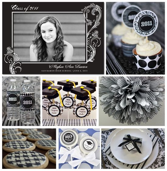 Black and White Graduation Party Inspiration Board on the Tinyprints Blog